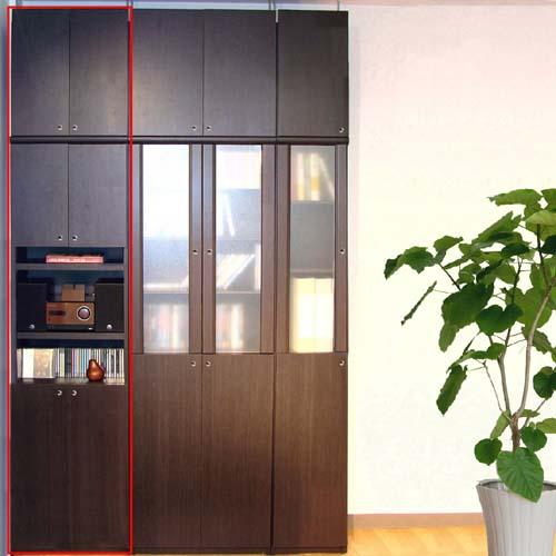幅1cm単位でオーダー 好きな本をすっきり たっぷり収納A3ファイル等を無駄なく片付け 木製壁面深型ラック 扉の組み合わせは21通り 天井ツッパリ用途色々収納本棚 棚板厚2.5cm 飾り棚付両開き扉木製壁面深型ラック 高さ=ラック高さ178cm+突張棚高さ65cm+伸縮突張金具 木製壁面深型ラック高さ250~259cm幅45~59cm奥行46cm厚棚板 本体棚扉サイズ:上扉52.5cm+下扉72.5cm 新作 大人気 お気に入り