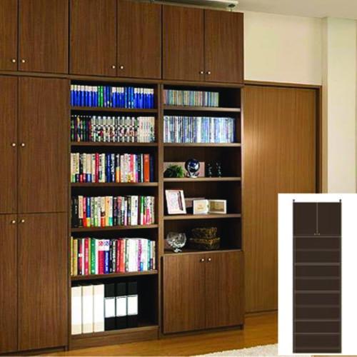 つっぱり書棚 大容量書庫 大容量本棚 G3 【オーダー本棚】レコード マンガなどの収納に 組立家具 大容量書庫 木製本棚 奥行31cm高さ274~283cm幅60~70cm 標準棚板(厚さ1.7cm) 扉付本棚
