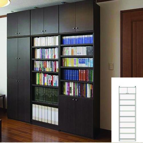 薄型 本棚 壁面本棚 オフィス書棚 UX つっぱり本棚 薄型書棚 組立家具 高さ241.1~250.1cm幅45~59cm奥行40cm厚棚板(棚板厚2.5cm) タフ棚板(厚さ2.5cm) 薄型本棚