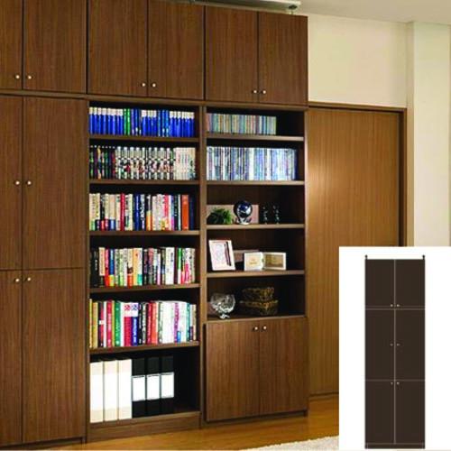 薄型 本棚 つっぱり本棚 フル扉付き本棚 UX 壁面本棚 薄型書棚 DIY 高さ274.1~283.1cm幅45~59cm奥行31cm 標準棚板(厚さ1.7cm) 薄型本棚