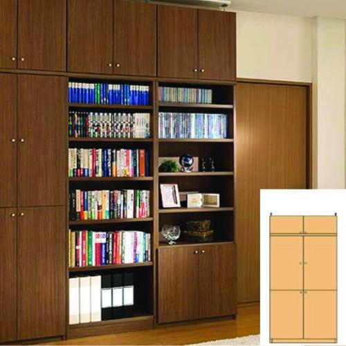 薄型 本棚 つっぱり書棚 奥深全面扉オフィス収納 UX 壁面本棚 薄型書庫 リフォーム材料 高さ241.1~250.1cm幅81~90cm奥行40cm厚棚板(棚板厚2.5cm) タフ棚板(厚さ2.5cm) 薄型本棚