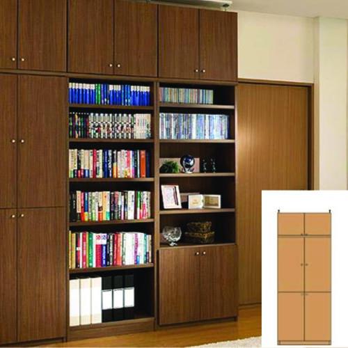 薄型 本棚 防災対策本棚 全面扉付き収納 UX 転倒対策本棚 薄型書棚 簡単リフォーム 高さ250.1~259.1cm幅60~70cm奥行40cm 標準棚板(厚さ1.7cm) 薄型本棚