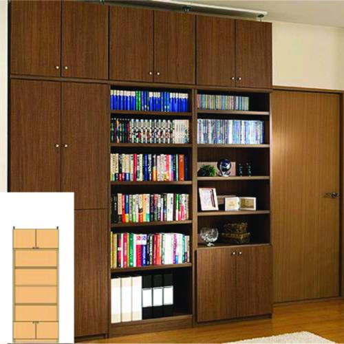組み立て収納 薄型壁面コミック本棚 薄型本棚 G2 【オーダー収納】レコード ファイルなどの収納に 組立家具 突っ張り収納 高さ217~226cm幅60~70cm奥行19cm 標準棚板(厚さ1.7cm)