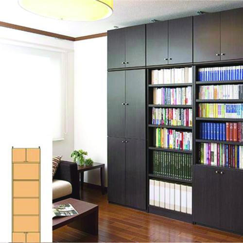 薄型 本棚 扉付収納 スリム壁面コミック本棚 UX 木製本棚 薄型本棚 簡単リフォーム 高さ250.1~259.1cm幅45~59cm奥行19cm厚棚板(棚板厚2.5cm) タフ棚板(厚さ2.5cm) 薄型本棚
