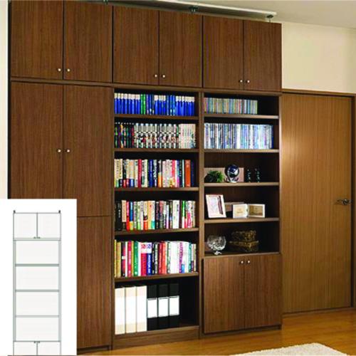 大容量本棚 A4本棚 壁面書庫 M2 【オーダー書棚】タオル レコードなどの収納に 組立家具 大容量本棚 高さ259.1~268.1cm幅60~70cm奥行31cm 標準棚板(厚さ1.7cm)