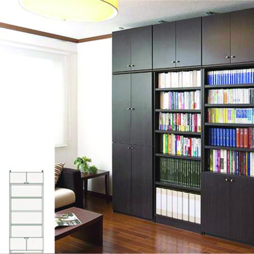薄型 本棚 壁面収納 奥深下扉付書庫 UX 壁面本棚 薄型本棚 簡単リフォーム 高さ208~217cm幅60~70cm奥行40cm 標準棚板(厚さ1.7cm) 薄型本棚
