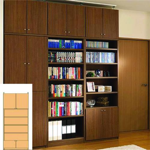 薄型 本棚 壁面固定本棚 奥深下扉付書庫 UX 間仕切り本棚 薄型書棚 組立家具 高さ250~259cm幅81~90cm奥行46cm厚棚板(棚板厚み2.5cm) タフ棚板(厚さ2.5cm) 薄型本棚