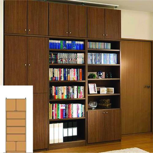 本棚 扉付き 薄型収納 薄型壁面文庫本棚 TX つっぱり本棚 扉付本棚 リフォーム材料 高さ232~241cm幅60~70cm奥行19cm 標準棚板(厚さ1.7cm) 扉付本棚
