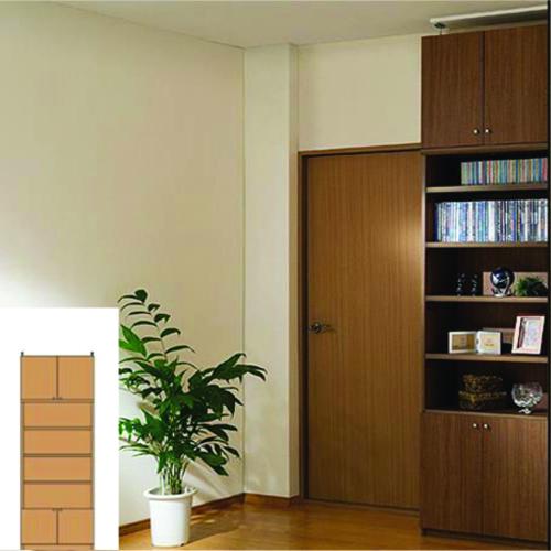 薄型 本棚 扉付収納 薄型壁面文庫本棚 UX 木製本棚 薄型本棚 簡単リフォーム 高さ232~241cm幅60~70cm奥行19cm厚棚板(耐荷重30Kg) タフ棚板(厚さ2.5cm) 薄型本棚