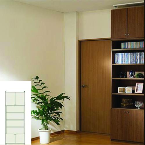 本棚 扉付き スリム本棚 薄型壁面文庫本棚 TX つっぱり本棚 扉付本棚 簡単リフォーム 高さ241~250cm幅60~70cm奥行19cm 標準棚板(厚さ1.7cm) 扉付本棚