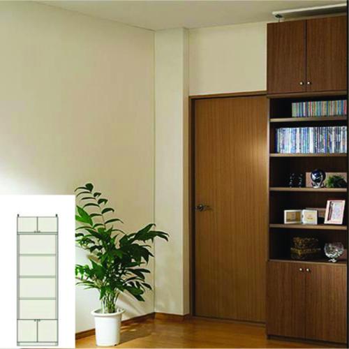 薄型 本棚 転倒防止対策本棚 スリム壁面文庫本棚 UX 壁面固定本棚 薄型書棚 組立家具 高さ241.1~250.1cm幅45~59cm奥行19cm厚棚板(棚板厚2.5cm) タフ棚板(厚さ2.5cm) 薄型本棚