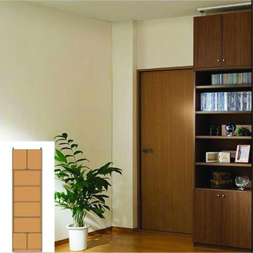 本棚 扉付き 薄型収納 スリム壁面文庫本棚 TX 壁固定本棚 扉付本棚 組立家具 高さ265.1~274.1cm幅45~59cm奥行19cm 標準棚板(厚さ1.7cm) 扉付本棚
