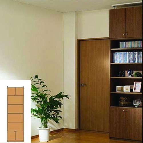 薄型 本棚 壁面活用収納 下扉付きリビング収納 UX 突っ張り本棚 薄型書棚 リフォーム材料 高さ250.1~259.1cm幅45~59cm奥行40cm 標準棚板(厚さ1.7cm) 薄型本棚
