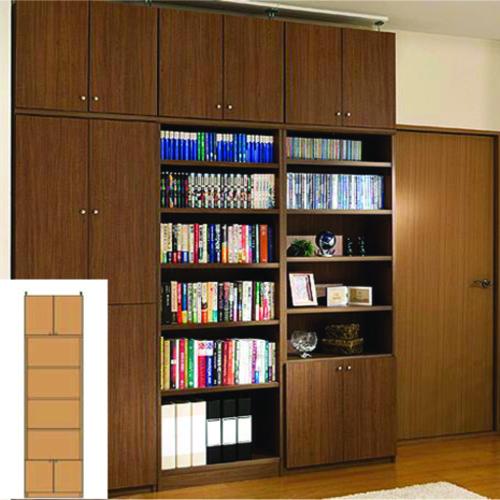 本棚 扉付き 大容量本棚 深型リビング収納 TX 防災対策本棚 扉付本棚 組立家具 高さ265.1~274.1cm幅45~59cm奥行40cm 標準棚板(厚さ1.7cm) 扉付本棚
