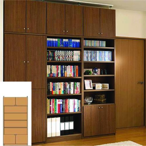 本棚 扉付き 大型収納 奥深リビング収納 TX つっぱり本棚 扉付収納 組立家具 高さ217~226cm幅81~90cm奥行46cm厚棚板(棚板厚2.5cm) タフ棚板(厚さ2.5cm) 扉付本棚