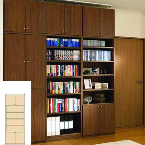 本棚 扉付き スリム収納 薄型壁面CD棚 TX つっぱり本棚 扉付本棚 DIY 高さ226~235cm幅60~70cm奥行19cm厚棚板(棚板厚2.5cm) タフ棚板(厚さ2.5cm) 扉付本棚
