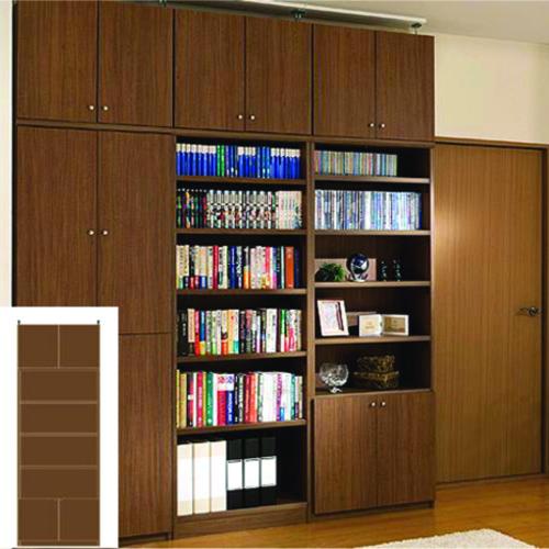 薄型 本棚 扉付き書棚 スリム壁面CD棚 UX 扉付本棚 薄型書庫 リフォーム材料 高さ265.1~274.1cm幅71~80cm奥行19cm厚棚板(棚板厚2.5cm) タフ棚板(厚さ2.5cm) 薄型本棚