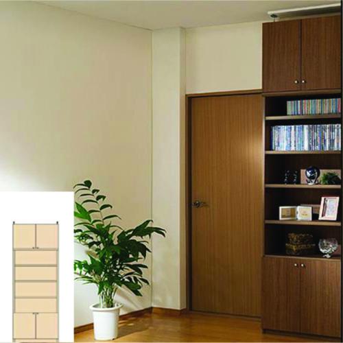 薄型 本棚 扉付き書棚 天井つっぱり壁面書庫 UX 扉付本棚 薄型書庫 リフォーム材料 高さ226~235cm幅60~70cm奥行31cm厚棚板(棚板厚2.5cm) タフ棚板(厚さ2.5cm) 薄型本棚