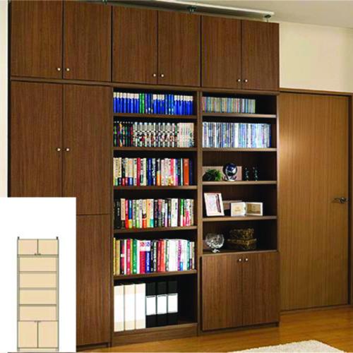 大容量本棚 キッチン壁収納 付録書庫 O2 【オーダー書棚】CD DVDなどの収納に リフォーム材料 大容量本棚 高さ208~217cm幅45~59cm奥行40cm 標準棚板(厚さ1.7cm)