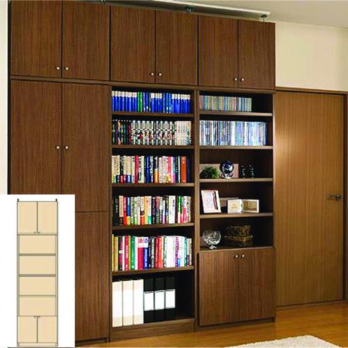 薄型 本棚 子供本棚本棚 厚型扉付きキッチン壁収納 UX 高さ調整本棚 薄型書棚 DIY 高さ274.1~283.1cm幅45~59cm奥行40cm 標準棚板(厚さ1.7cm) 薄型本棚