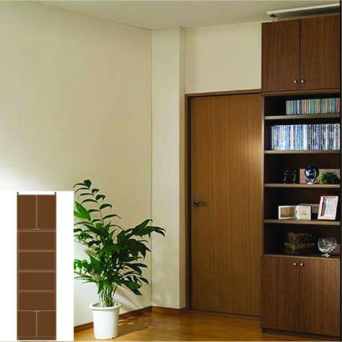 薄型 本棚 扉付本棚 厚型扉付きキッチン壁収納 UX 組み立て本棚 薄型書棚 組立家具 高さ283.1~292.1cm幅45~59cm奥行40cm 標準棚板(厚さ1.7cm) 薄型本棚