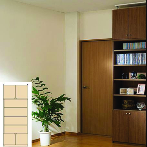 薄型 本棚 つっぱり本棚 大型リビング壁収納 UX 壁面本棚 薄型書棚 簡単リフォーム 高さ274.1~283.1cm幅81~90cm奥行46cm厚棚板(耐荷重30Kg) タフ棚板(厚さ2.5cm) 薄型本棚