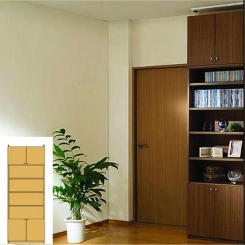 本棚 扉付き 薄型本棚 スリム壁面漫画本棚 TX 扉付本棚 扉付収納 DIY 高さ259.1~268.1cm幅71~80cm奥行19cm厚棚板(耐荷重30Kg) タフ棚板(厚さ2.5cm) 扉付本棚