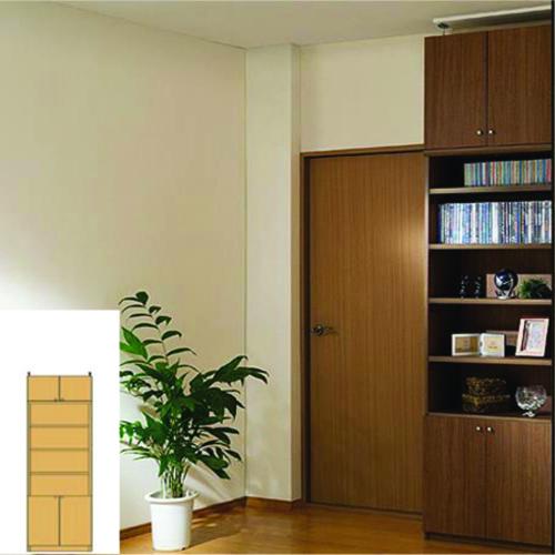 本棚 扉付き 書類収納 天井つっぱり壁面書庫 TX 壁面本棚 扉付書棚 DIY 高さ208~217cm幅45~59cm奥行31cm 標準棚板(厚さ1.7cm) 扉付本棚