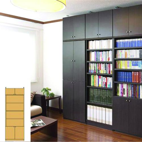 大容量壁面書庫 書類本棚 扉付収納 M3 【オーダー本棚】衣類 新聞などの収納に 組立家具 大容量壁面書庫 奥行31cm高さ241~250cm幅60~70cm 標準棚板(厚さ1.7cm) 大容量壁面書庫