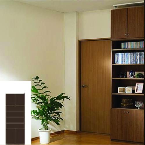 本棚 扉付き 薄型収納 薄型壁面DVD棚 TX 突っ張り本棚 扉付本棚 リフォーム材料 高さ232~241cm幅60~70cm奥行19cm厚棚板(耐荷重30Kg) タフ棚板(厚さ2.5cm) 扉付本棚