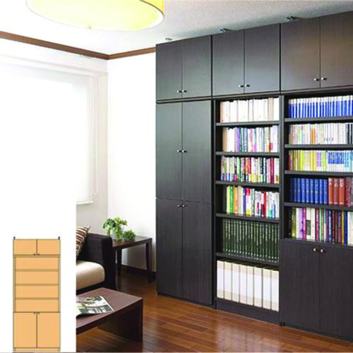 CD書庫 扉付壁収納 壁面本棚 S2 【オーダー本棚】参考書 DVDなどの収納に 組立家具 マガジン書棚 高さ208~217cm幅60~70cm奥行40cm厚棚板(耐荷重30Kg) タフ棚板(厚さ2.5cm)
