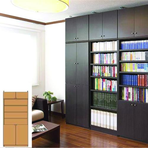 薄型 本棚 木製本棚 スリム壁面戸棚 UX 扉付本棚 薄型書棚 DIY 高さ241.1~250.1cm幅81~90cm奥行19cm厚棚板(耐荷重30Kg) タフ棚板(厚さ2.5cm) 薄型本棚