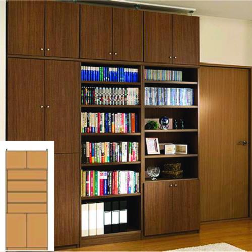 薄型 本棚 万能本棚 大容量書庫 UX 扉付き本棚 薄型書棚 簡単リフォーム 高さ259.1~268.1cm幅81~90cm奥行31cm厚棚板(耐荷重30Kg) タフ棚板(厚さ2.5cm) 薄型本棚