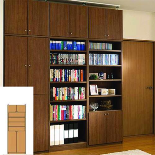 薄型 本棚 扉付き本棚 奥深下扉壁面収納 UX 扉付本棚 薄型書棚 組立家具 高さ208~217cm幅45~59cm奥行46cm 標準棚板(厚さ1.7cm) 薄型本棚