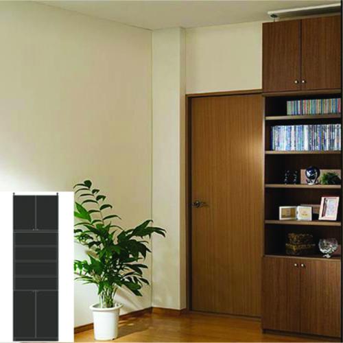薄型 本棚 壁面収納 大型下扉壁面収納 UX つっぱり本棚 薄型書棚 リフォーム材料 高さ283.1~292.1cm幅60~70cm奥行46cm厚棚板(棚板厚2.5cm) タフ棚板(厚さ2.5cm) 薄型本棚