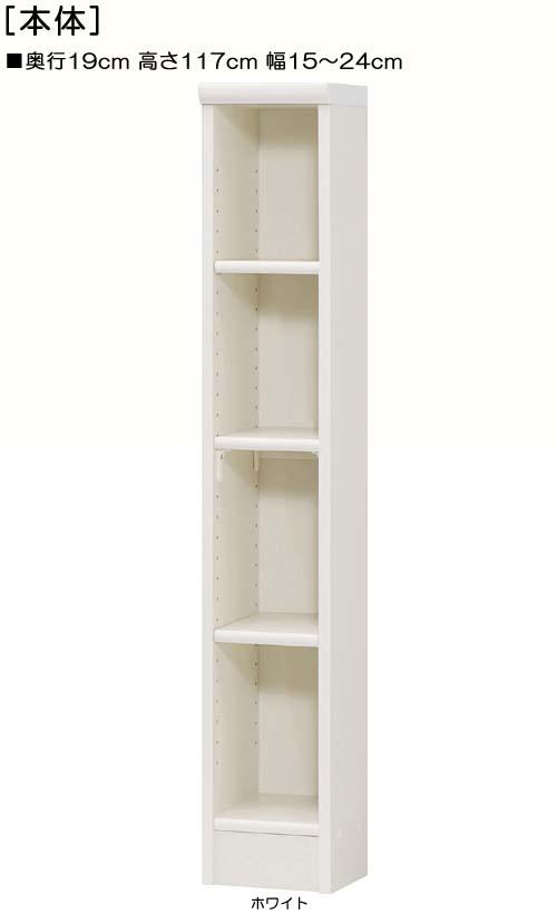 ビデオ収納 高さ117cm幅15~24cm奥行19cmDVDディスプレイ キッチンボード 幅1cm単位でオーダー 標準棚板収納 ビデオ収納