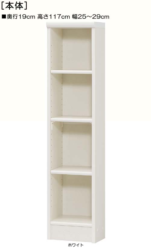 ビデオ収納 高さ117cm幅25~29cm奥行19cmDVDディスプレイ 洗面所収納 幅を1cm単位でご指定 標準棚板家具 ビデオ収納