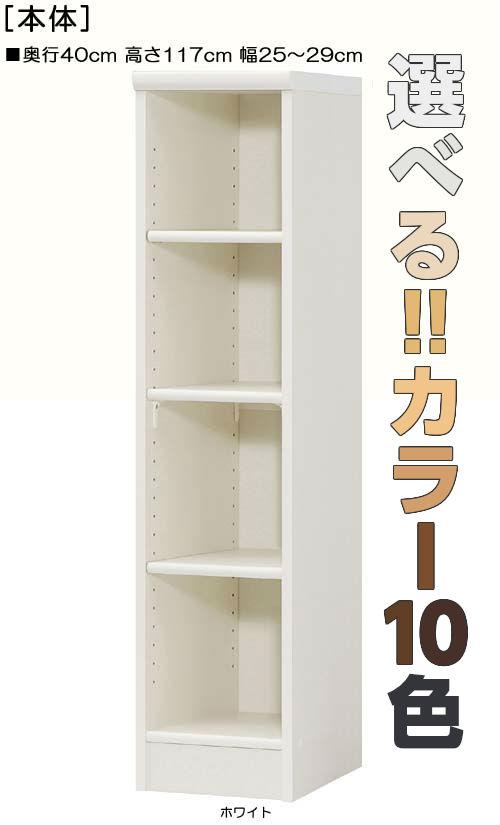 キッチン隙間収納 高さ117cm幅25~29cm奥行40cmコミック収納 事務所ボード 幅オーダー1cm単位 標準棚板収納 キッチン隙間収納