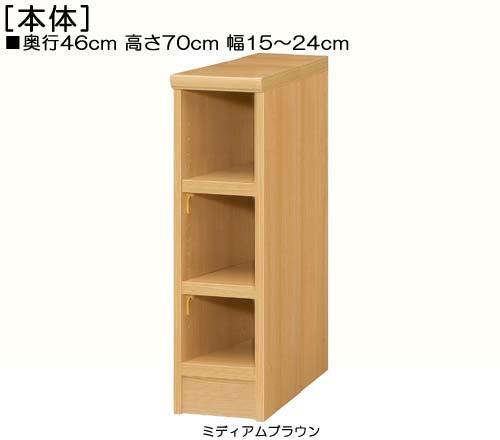 隙間収納 高さ70cm幅15~24cm奥行46cm厚棚板(棚板厚み2.5cm)コミック収納 居間ラック あいた場所を有効利用 たゆみにくい棚板シェルフ 隙間収納