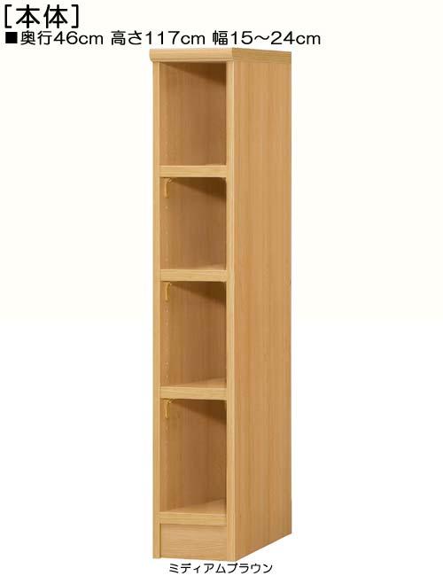 隙間収納 高さ117cm幅15~24cm奥行46cm厚棚板(棚板厚み2.5cm)DVDディスプレイ 台所シェルフ 幅オーダー1cm単位 たゆみにくい棚板本棚 隙間収納