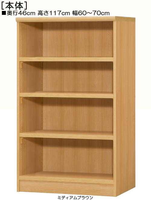 書庫 高さ117cm幅60~70cm奥行46cm厚棚板(棚板厚み2.5cm)コミック収納 ウォークインクローゼット収納 幅1cm単位でオーダー 厚棚板ラック 書庫