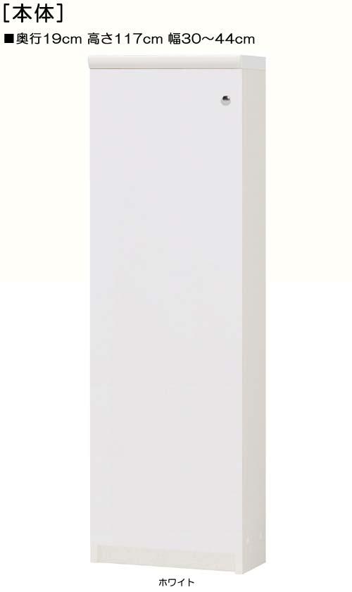 全面扉ビデオ収納 高さ117cm幅30~44cm奥行19cm 片開き(左開き/右開き) 全面扉付廊下棚