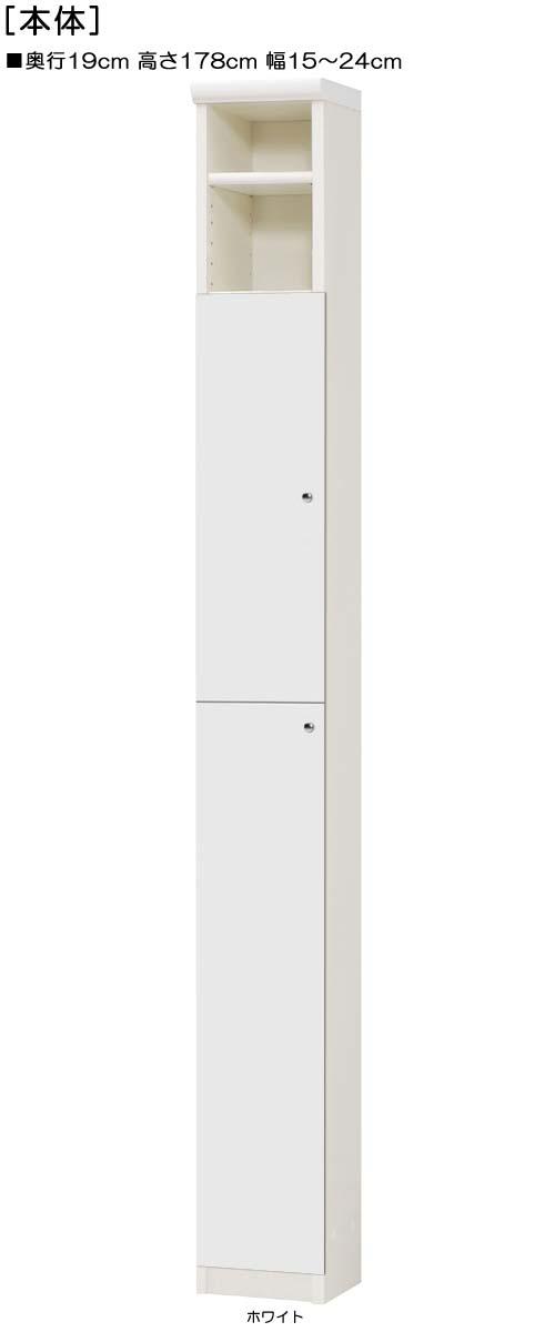 下部扉スリム収納高さ178cm幅15~24cm奥行19cm上下片開き 扉高さ142.2cm 扉付図書室家具 スリム収納
