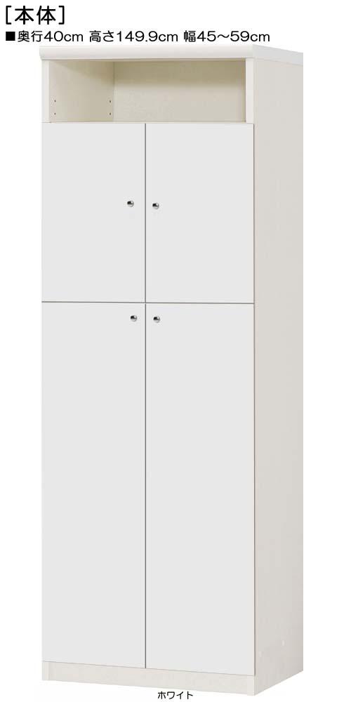 下部扉木製整理棚高さ149.9cm幅45~59cm奥行40cm上下共両開き 扉高さ127.3cm 扉付客間収納 木製整理棚