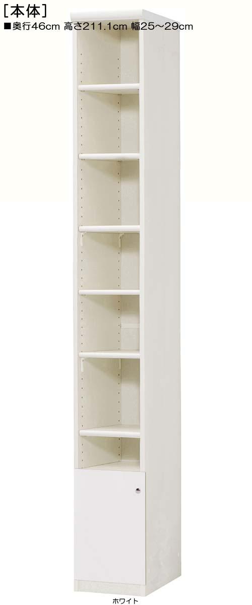 下部扉リビング隙間収納高さ211.1cm幅25~29cm奥行46cm片開き 扉高さ41.5cm 扉付図書室収納 リビング隙間収納