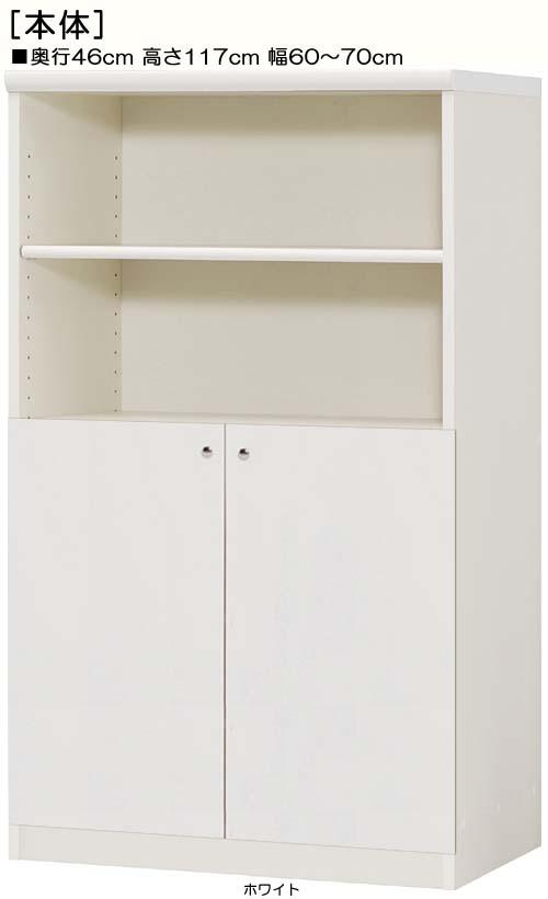 下部扉オーダー書棚高さ117cm幅60~70cm奥行46cm両開き 扉高さ62.6cm 扉付待合室ラック オーダー書棚
