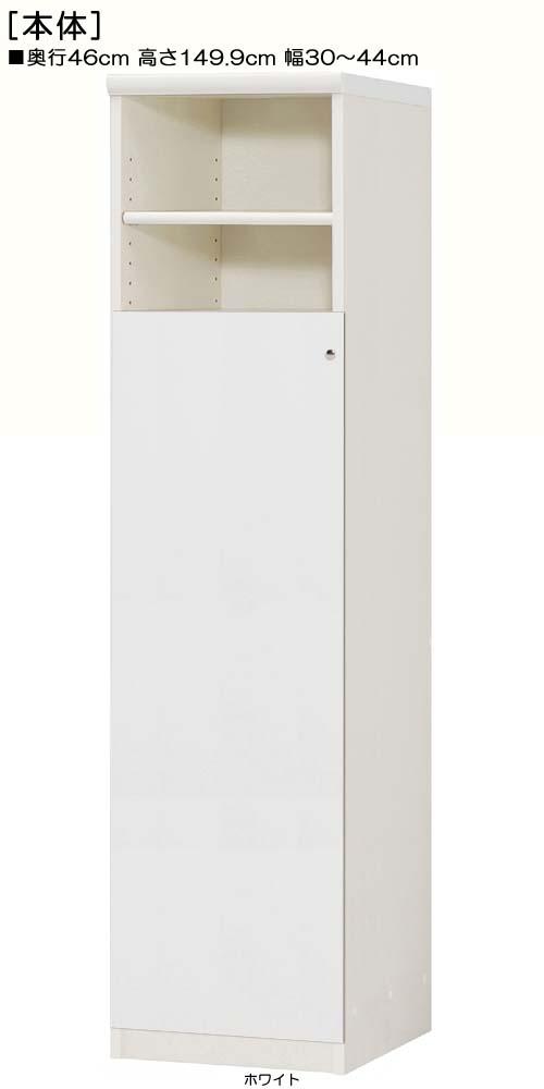 下部扉オーダー壁面収納高さ149.9cm幅30~44cm奥行46cm片開き 扉高さ109.5cm 扉付納戸本棚 オーダー壁面収納