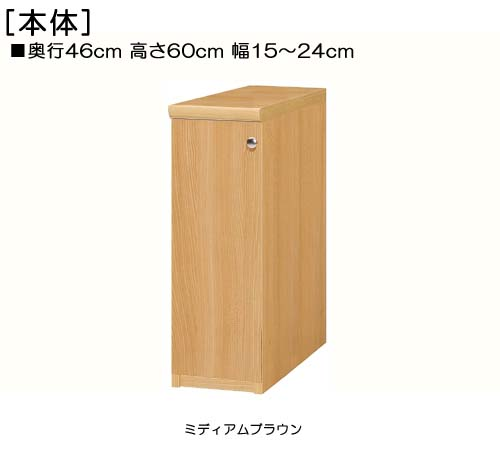 全面扉隙間収納 高さ60cm幅15~24cm奥行46cm厚棚板(耐荷重30Kg) 片開き(左開き/右開き)  全面扉付寝室収納