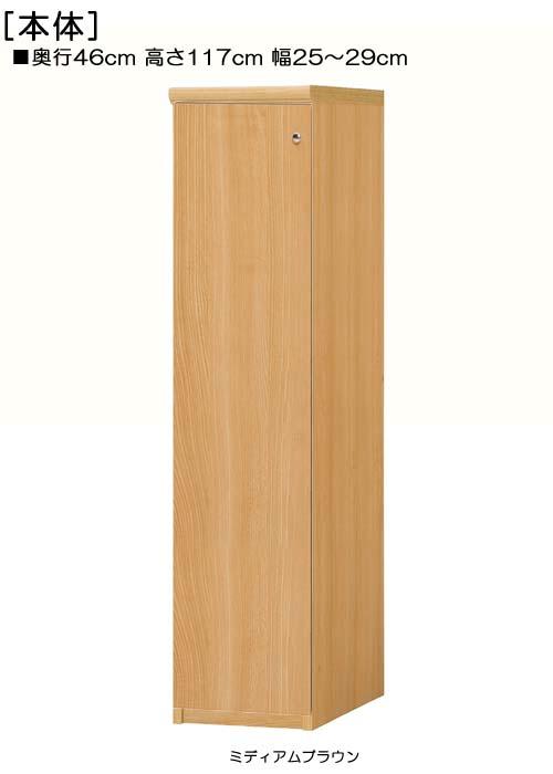 全面扉壁収納 高さ117cm幅25~29cm奥行46cm厚棚板(棚板厚み2.5cm) 片開き(左開き/右開き)  全面扉付ロビー収納