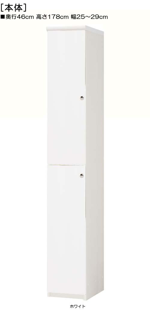全面扉壁収納 高さ178cm幅25~29cm奥行46cm厚棚板(棚板厚み2.5cm) 上下共片開き(左開き/右開き)  全面扉付納戸ラック